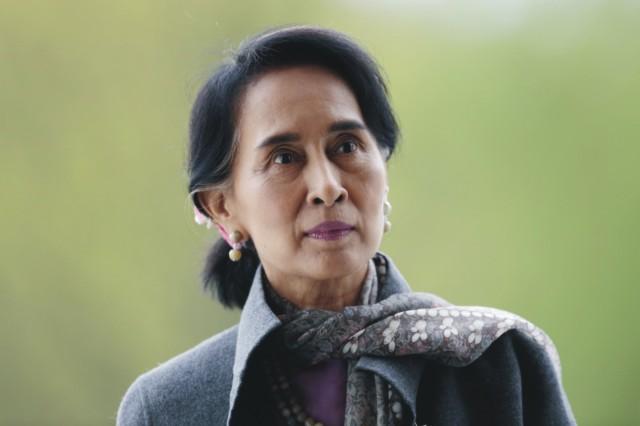 Na snímke mjanmarská laureátka Nobelovej ceny za mier Aun Schan Su Ťij
