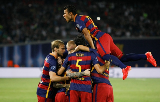 Na snímke hráči FC Barcelony