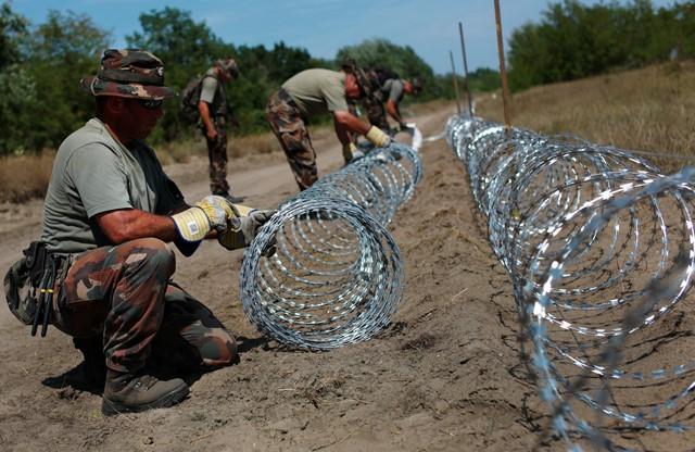 Na snímke maďarskí vojaci počas výstavby dočasných zábran na maďarsko-srbských hraniciach