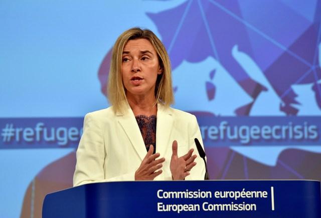 Na snímke vysoká predstaviteľka EÚ pre zahraničné veci a bezpečnostnú politiku Federica Mogheriniová