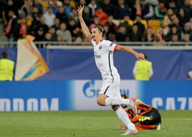 Na snímke hráč Paríža St. Germain Zlatan Ibrahimovič