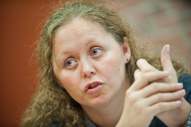 Na snímke zástupkyňa riaditeľa Strednej odbornej školy masmediálnych a informačných štúdií Jana Mašlejová