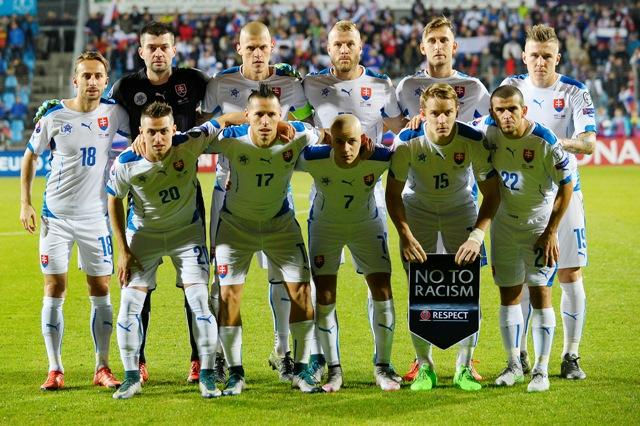 Na snímke futbalisti Slovenska