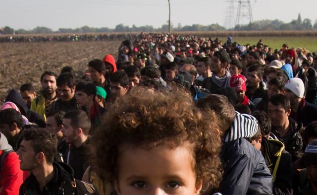 Migranti kráčajú cez pole po prekročení malého chorvátsko-slovinského hraničného priechodu v slovinskej pohraničnej obci Rigonce
