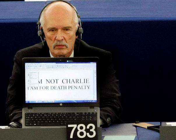 Na snímke poľský europoslanec Janusz Korwin-Mikke