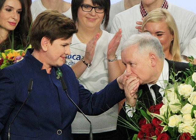 Na snímke predseda poľskej konzervatívnej strany Právo a spravodlivosť (PiS) Jaroslaw Kaczynski  bozkáva ruku volebnej líderky PiS Beaty Szydlovej