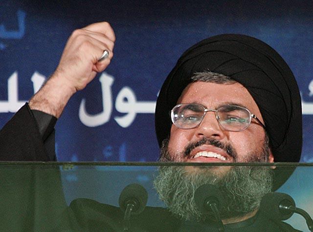 Na snímke vodca hnutia Hizballáh šejk Hasan Nasralláh.