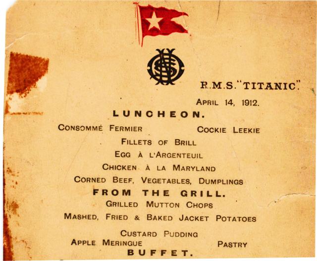 Na snímke časť zo zachovaného obedového menu Titanicu