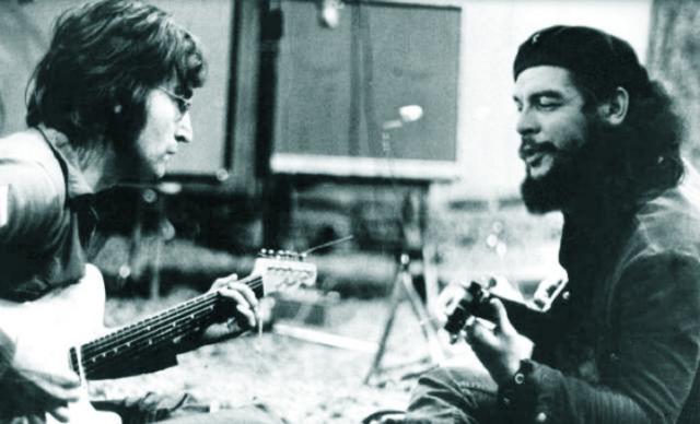 Fotomontáž - vľavo John Lennon a vpravo najznámejší komunistický revolucionár Ernesto Che Guevarra