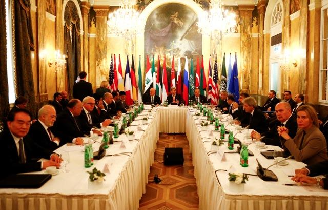 Na snímke stretnutie ministrov zahraničných vecí vo Viedni, na ktorom hľadali cesty k vyriešeniu konfliktu v Sýrii