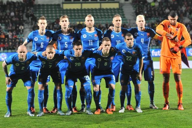 Na snímke futbalisti Slovenska v prípravnom futbalovom zápase Slovensko – Island v Žiline