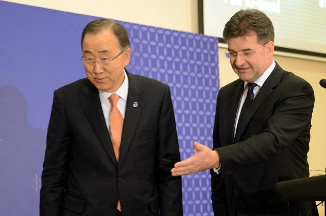 Na snímke minister zahraničných vecí a európskych záležitostí SR Miroslav Lajčák s generálnym tajomníkom OSN Pan Ki-munom