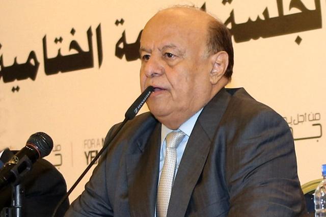 Na snímke jemenský exilový prezident Abd Rabbuh Mansúr Hádí