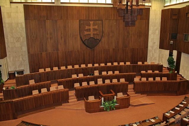 Pohľad na rokovaciu sálu Národnej rady Slovenskej republiky