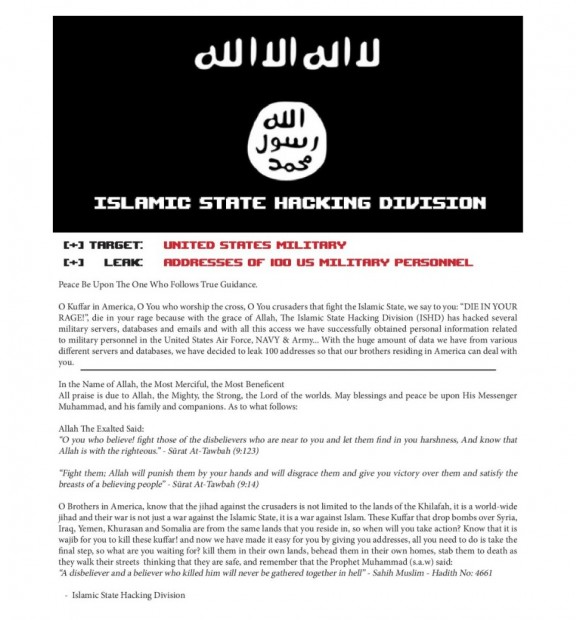 Časť výhražného listu ISIS