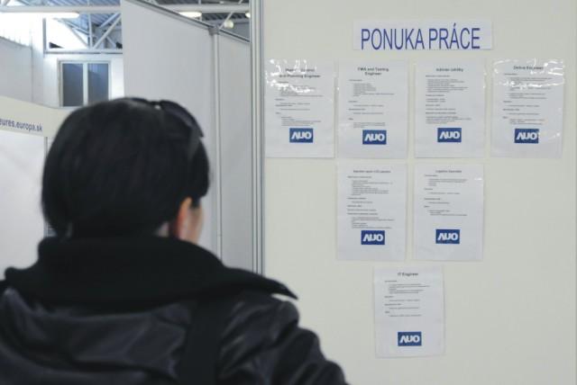 Na archívnej snímke si návštevníčka prezerá ponuky práce počas medzinárodného veľtrhu pracovných príležitostí a vzdelávania JOB FORUM