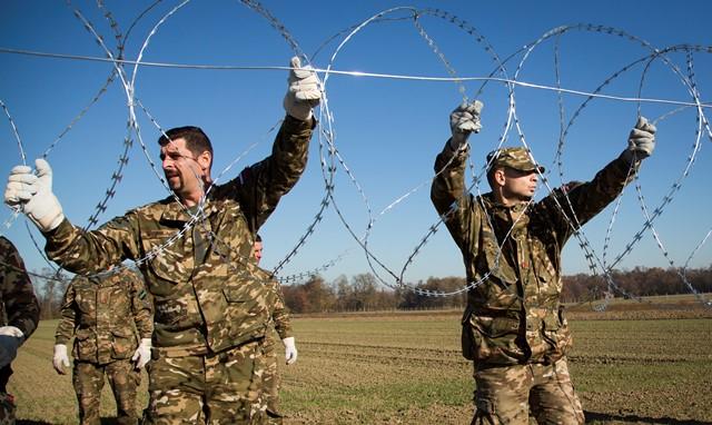 Na snímke slovinskí vojaci začali s výstavbou plotu v obci Gibina  na hraniciach s Chorvátskom