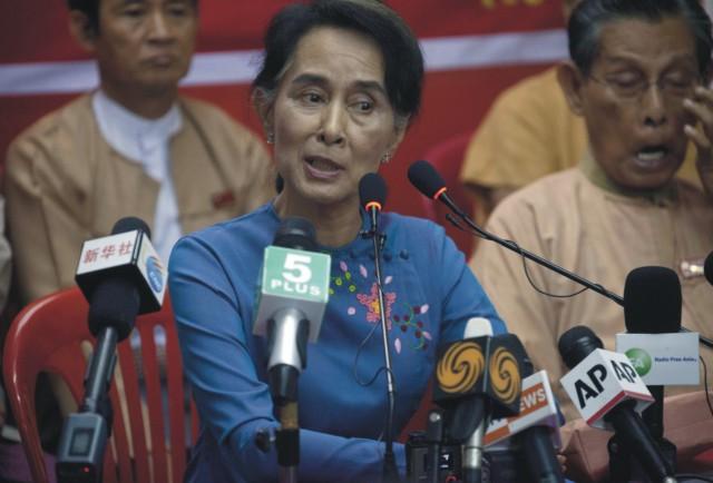 Na snímke mjanmarská opozičná líderka a šéfka Národnej ligy za demokraciu (NLD) Aun Schan Su Ťij