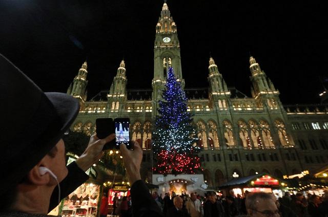 Vianočný stromček, ktorý sa nachádza na vianočných trhoch pred neogotickou radnicou vo Viedni