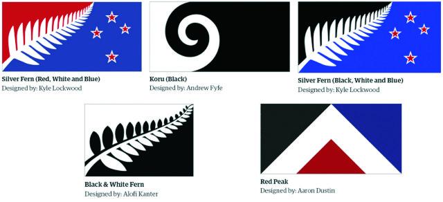 """Na kombosnímke z 11. augusta 2015 vo Wellingtone päť návrhov pre novú novozélandskú vlajku. Nový Zéland prijal 24. septembra 2015 piaty návrh (dole vpravo) na novú štátnu vlajku po tom, ako tamojší parlament drvivou väčšinou zahlasoval v prospech trojuholníkového dizajnu známeho ako """"červený štít"""", ktorý petíciou podporila i verejnosť. Na Novom Zélande sa dnes začalo referendum o novej štátnej vlajke"""