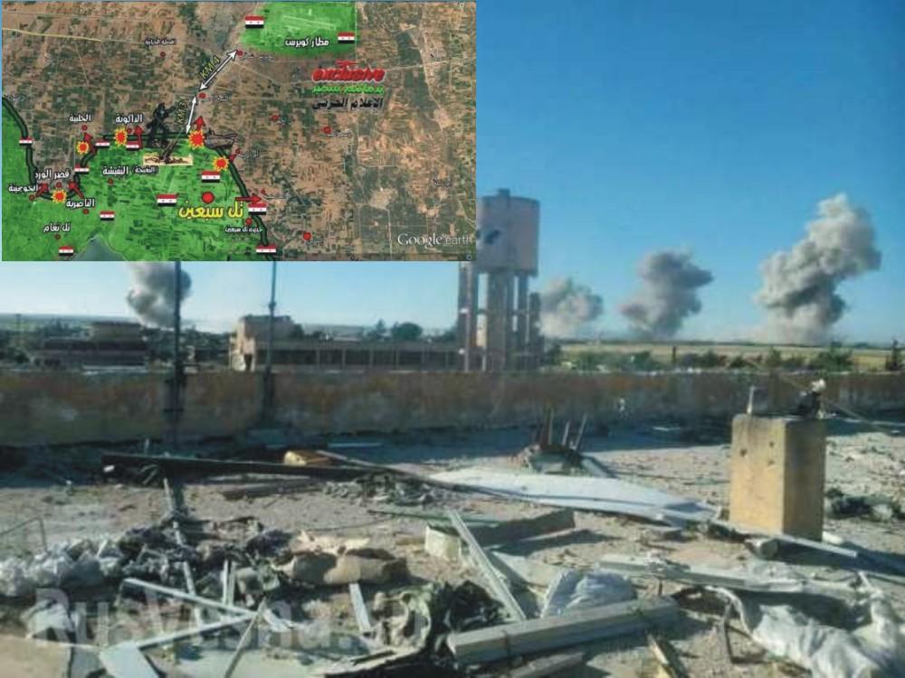 Na snímke letecká základňa Kuweires a vľavo v rohu mapka s postupom bojov