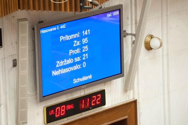 Na snímke infotabuľa po hlasovaní o zmene ústavy, ktorá je súčasťou tzv. protiteroristického balíčka vlády, počas 58. schôdze Národnej rady SR
