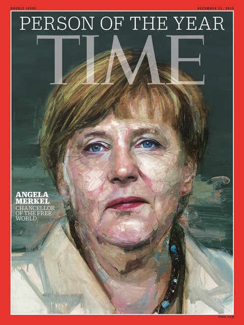 Na snímke nemecká kancelárka Angela Merkelová na titulke časopisu Time