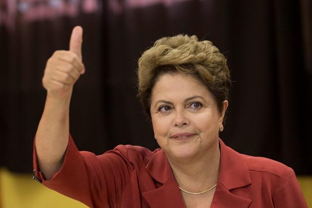 Na snímke brazílska prezidentka a prezidentská kandidátka Dilma Rousseffová