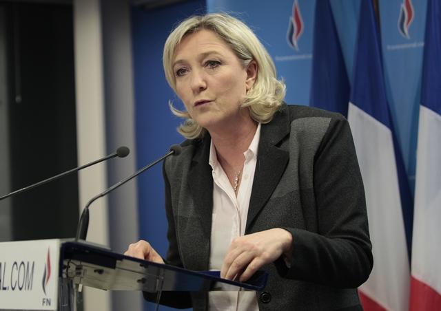 Na snímke Predsedníčka ultrapravicového francúzskeho Národného frontu Marine Le Penová