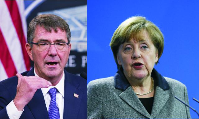 Na snímke vľavo americký minister obrany Ash Carter a nemecká kancelárka Angela Merkelová
