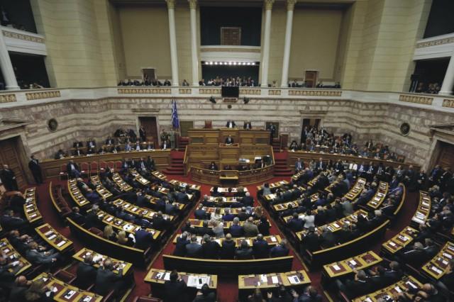 Na archívnej snímke pohľad do sály gréckeho parlamentu