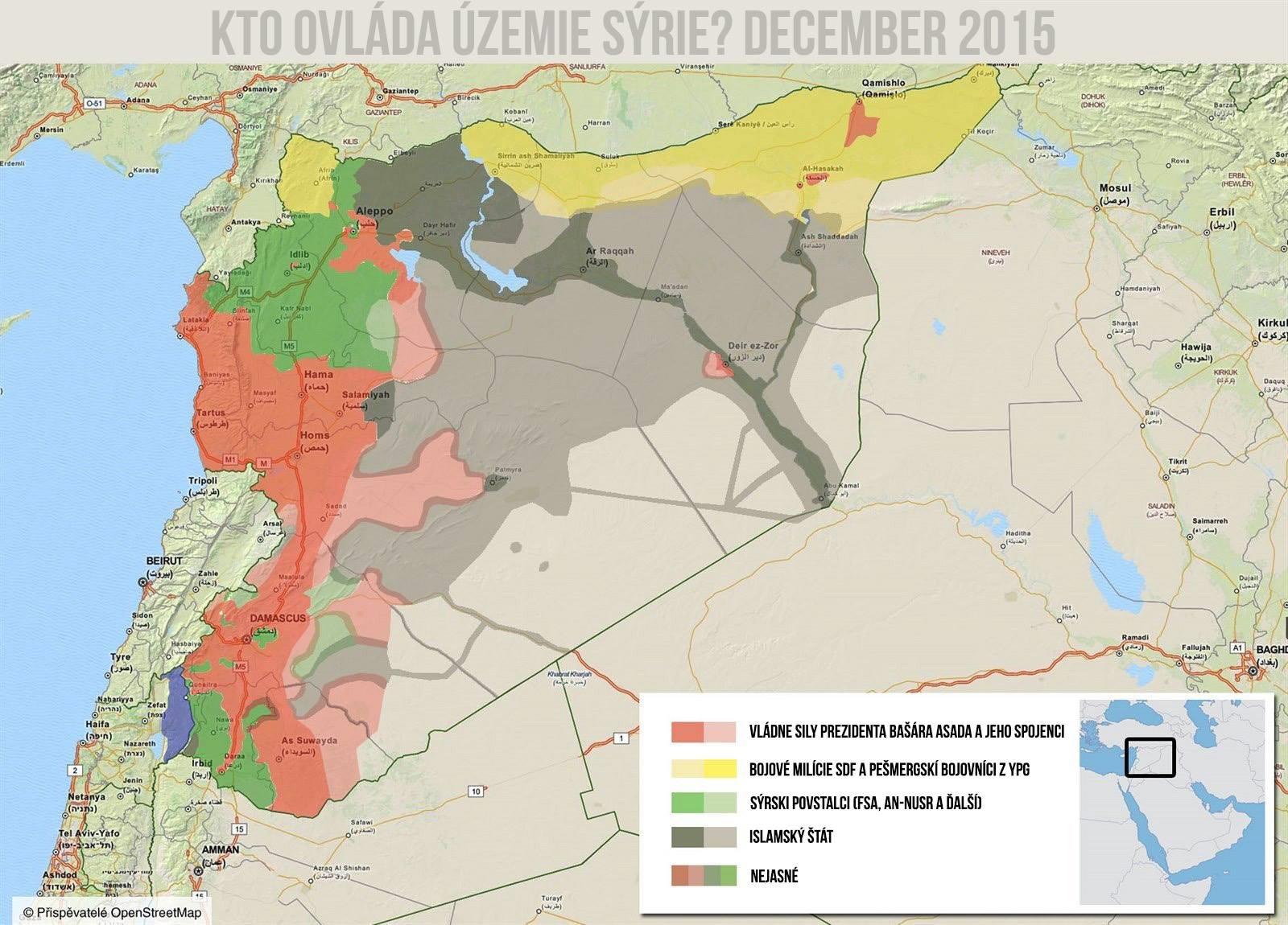 Ovládané územie v Sýrii december 2015