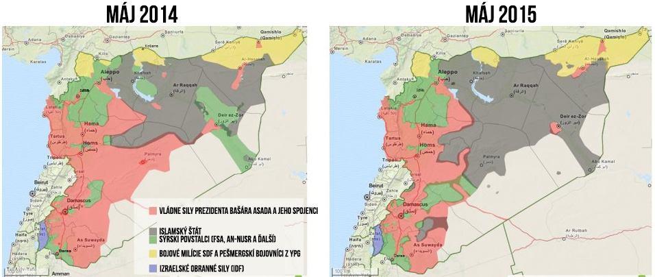 Ovládané územie v Sýrii máj 2014 a máj 2015