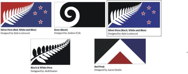 Na kombosnímke z 11. augusta 2015 vo Wellingtone päť návrhov pre novú novozélandskú vlajku