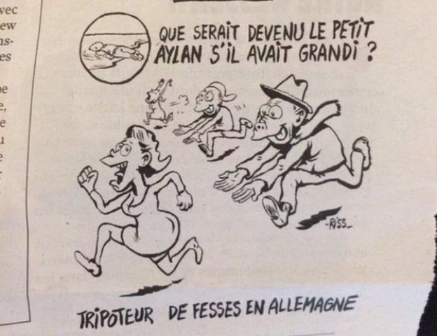 """Na karikatúre """"humoristi"""" zo Charlie Hebdo vyobrazili Nemky, ktoré utekajú pred rozvášnenými moslimami"""