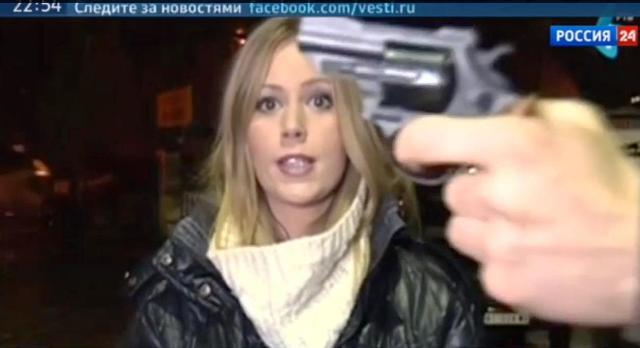 """Počas priameho prenosu, keď srbská televízna """"rosnička"""" rozprávala o počasí, neznámy muž, ktorý išiel okolo, strčil jej... pištoľ do tváre a išiel ďalej"""