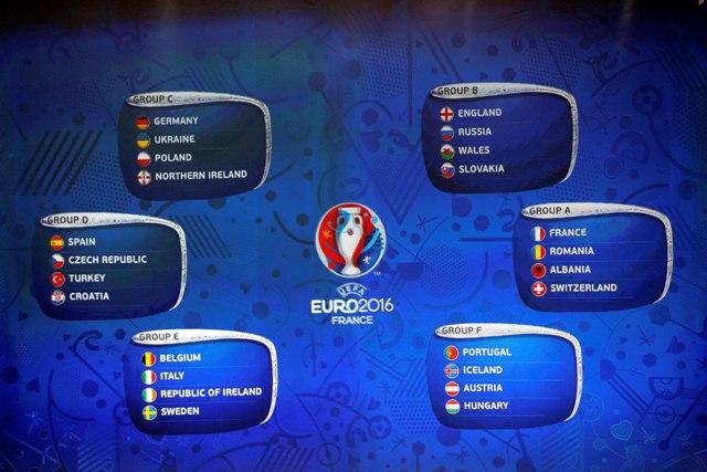Na snímke vyžrebované skupiny tímov počas žrebu futbalových majstrovstiev Európy 2016 vo Francúzsku
