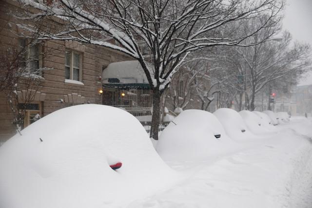 Na snímke zaparkované autá sú pokryté veľkou masou snehu 23. januára 2016 vo Washingtone
