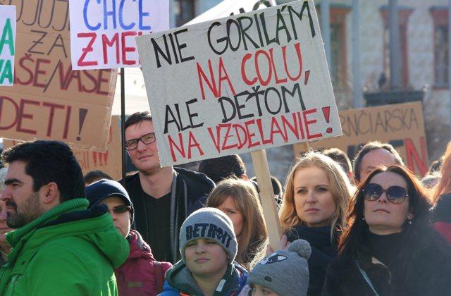 Na snímke protestné zhromaždenie štrajkujúcich učiteľov na Námestí SNP v Banskej Bystrici 29. januára 2016