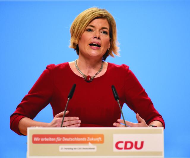 Na snímke  podpredsedníčka nemeckej Kresťanskodemokratickej únie (CDU) a šéfka strany v Porýní-Falcku Julia Klöcknerová