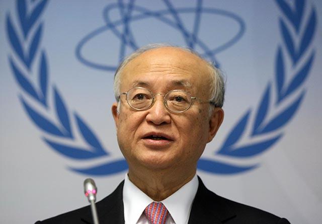 Na snímke generálny riaditeľ Medzinárodnej agentúry pre atómovú energiu (MAAE) Jukija Amano.