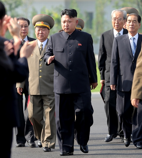 Na snímke severokórejský líder Kim Čong-un