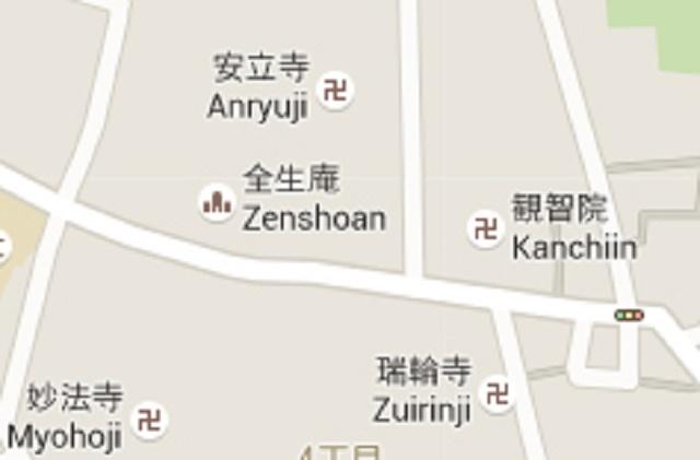 Výňatok z japonskej mapy, označujúcej budhistické chrámy v meste
