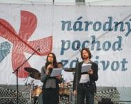 Na archívnej snímke Marek Michalčík a Monika Rimarčíková počas manitestu Národného pochodu za život