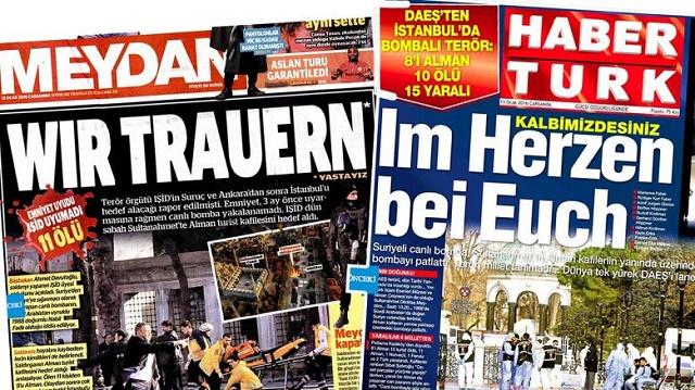 Titulky tureckých novín Haberturk a Meydan so sústrasťou v nemeckom jazyku