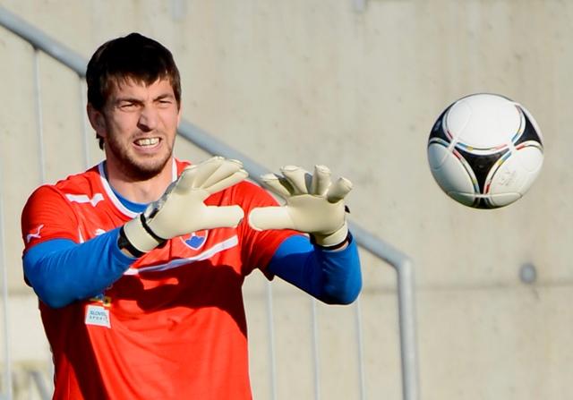 Na snímke slovenský futbalový brankár Dušan Kuciak