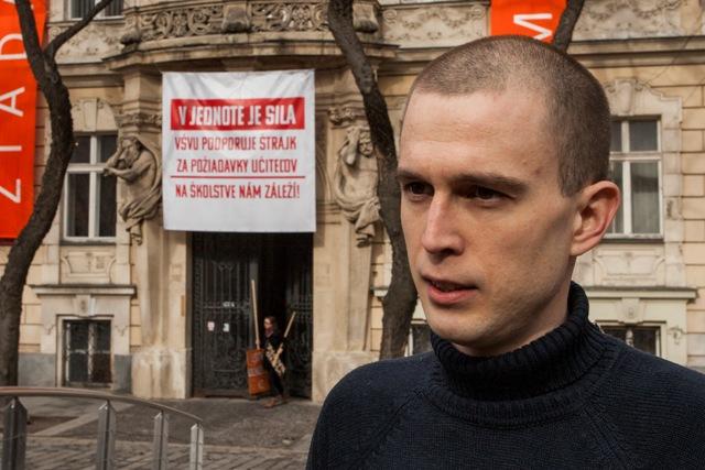 Na snímke zástupca štrajkového výboru Iniciatívy vysokoškolských učiteľov Juraj Halas