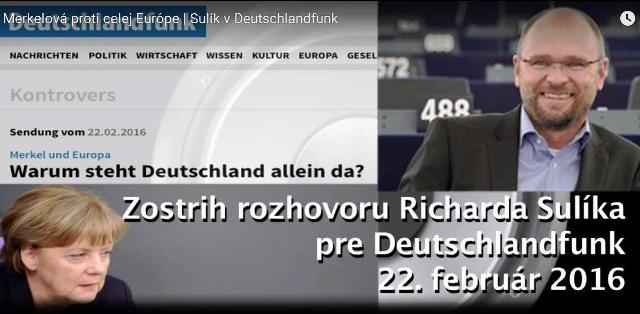 Slovenský europoslanec Richard Sulík bol hosťom politickej talkshow Kontrovers vysielanej populárnou nemeckou rozhlasovou stanicou Deutschlandfunk