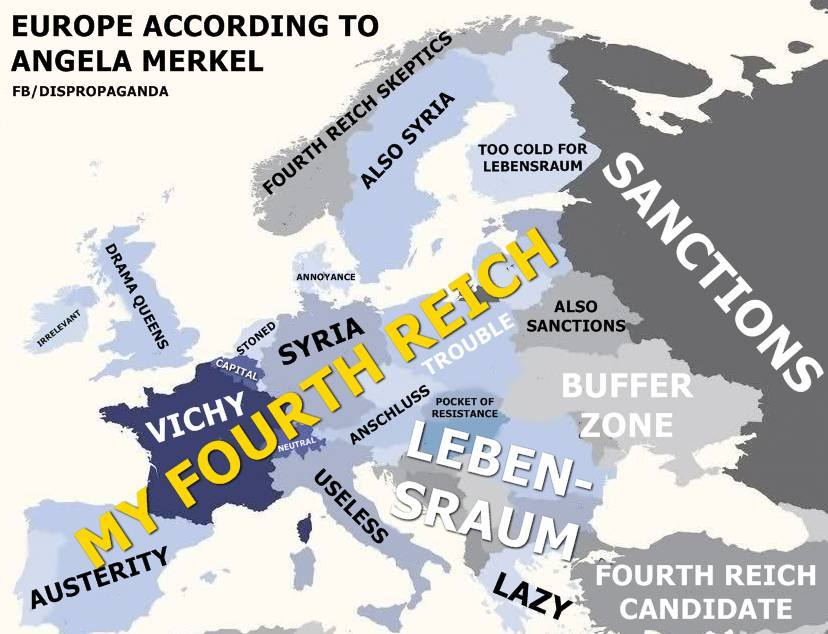 """""""Ako vidí Merkelová Európu?"""" Autor: facebook.com/dispropaganda"""