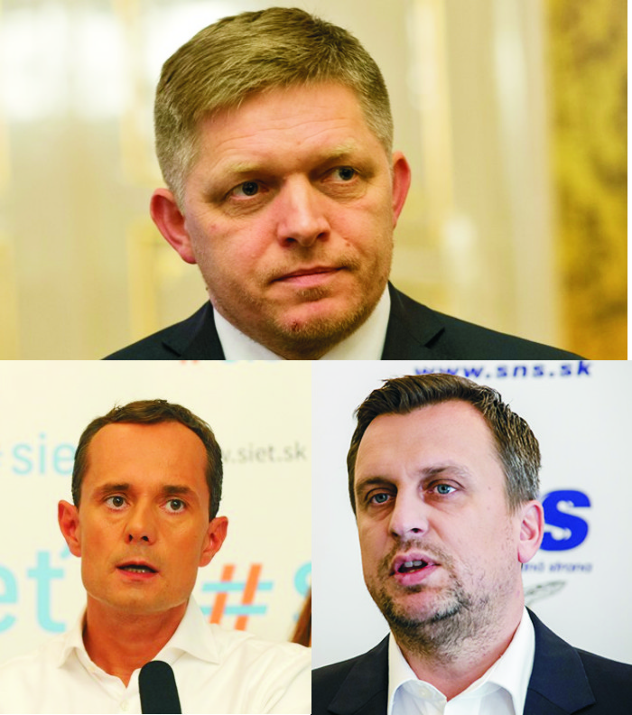 Na snímke Robert Fico (hore) pod ním radoslav Procházka (vľavo) a Andrej Danko